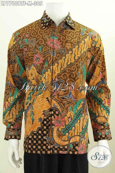 Baju Batik Halus Dan Istimewa, Pakaian Batik Hem Lengan Panjang Motif Terbaru Proses Kombinasi Tulis, Baju Batik Full Furing Lebih Nyaman Dan Berkelas [LP7700BTF-M]