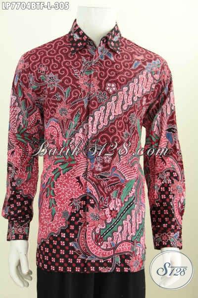 Baju Hem Lengan Panjang Elegan, Berbahan Batik Solo Kombinasi Tulis Daleman Full Furing Warna Merah Tampil Terlihat Mewah [LP7704BTF-L]
