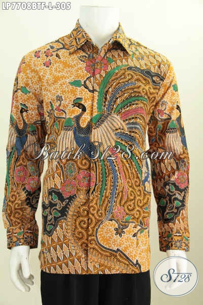Hem Batik Bagus Lengan Panjang, Busana Batik Solo Istimewa Full Furing Motif Mewah Kombinasi Tulis Bikin Pria Terlihat Berwibawa [LP7708BTF-L]