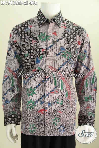 Jual Kemeja Batik Halus Lengan Panjang Berkelas, Produk Baju Batik Terkini Buatan Solo Kwalitas Mewah Harga Terjangkau [LP7715BTF-XL]