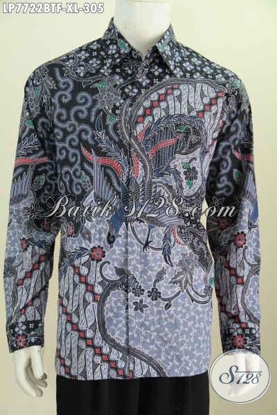 Baju Hem Lengan Panjang Mewah, Produk Pakaian Batik Buatan Solo Istimewa Proses Kombinasi Tulis Daleman Di Lengkapi Furing Tampil Makin Istimewa [LP7722BTF-XL]