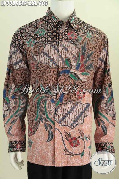 Toko Busana Batik Online Terlengkap, Sedia Baju Batik 3L Lengan Panjang Spesial Untuk Pria Gemuk Tampil Gagah Menawan [LP7725BTF-XXL]