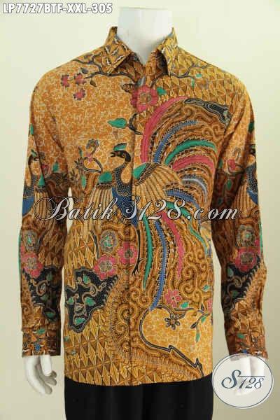 Online Shop Pakaian Batik Formal Dan Berkelas, Jual Hem Lengan Panjang 3L Untuk Pria Gemuk, Berbahan Halus Kwalitas Istimewa 300 Ribuan [LP7727BTF-XXL]
