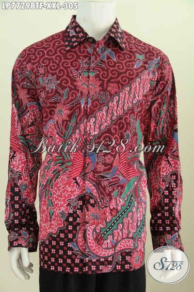 Baju Batik Mewah Warna Merah Motif Berkelas Bikin Penampilan Lebih Sempurna, Berbahan Adem Proses Kombinasi Tulis Size XXL Untuk Pria Gemuk [LP7729BTF-XXL]