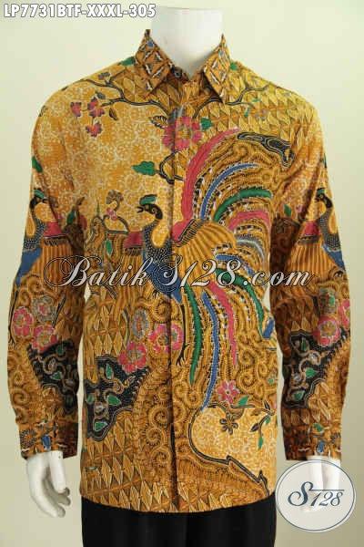 Hem Batik Halus Lengan Panjang 4L, Baju Batik Super Jumbo Untuk Pria Gemuk Proses Kombinasi Tulis Model Lengan Panjang Full Furing [LP7731BTF-XXXL]