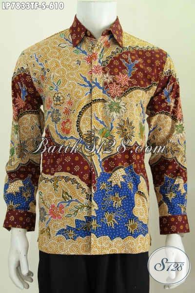 Jual Online Hem Batik Modis Mewah Lengan Panjang Full Furing, Baju Batik Tulis Solo Untuk Acara Formal Tampil Istimewa [LP7833TF-S]
