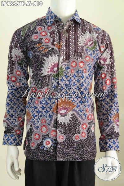 Produk Busana Batik Premium Lengan Panjang Mewah Full Furing, Kemeja Batik Pria Sukses Halus Proses Tulis Untuk Penampilan Lebih Sempurna [LP7836TF-M]