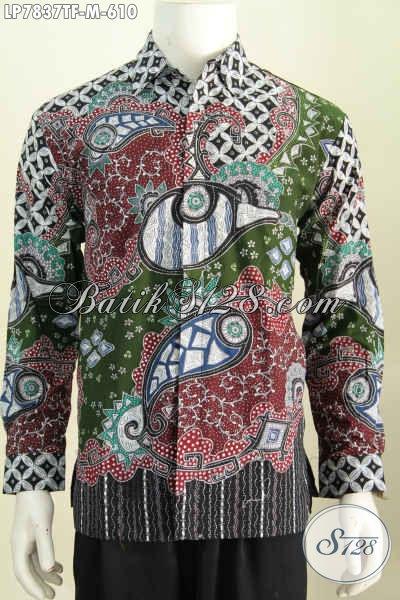 Jual Online Busana Batik Istimewa Untuk Pria Muda Karir Sukses, Pakaian Batik Tulis Berkelas Lengan Panjang Pakai Furing Hanya 610 Ribu [LP7837TF-M]