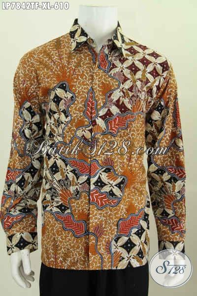 Produk Baju Batik Premium Istimewa Untuk Lelaki Dewasa Tampil Gagah Berwibawa, Pakaian Batik Tulis Full Furing Model Lengan Panjang 610K [LP7842TF-XL]