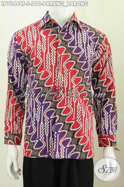 Hem Batik Klasik Parang Barong Dengan Kombinasi Warna Keren, Baju Batik Cap Tulis Lengan Panjang Buat Lelaki Terlihat Macho [LP7844CT-S]