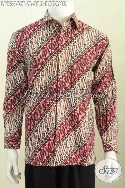 Baju Batik Parang Lengan Panjang Mewah, Busana Kerja Elegan Formal Proses Cap Tulis Non Furing 210K [LP7846CT-M]