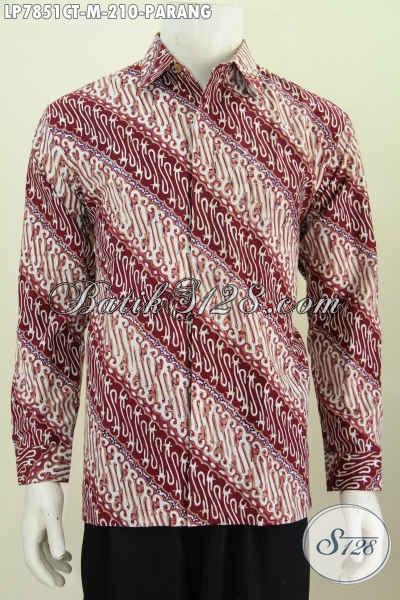 Hem Batik Parang Lengan Panjang Warna Merah, Busana Keren Untuk Lelaki Muda Proses Cap Tulis Size M [LP7851CT-M]
