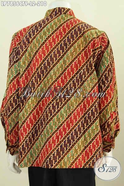 Baju Batik Motif Mewah Cap Tulis, Kemeja Batik Lengan Panjang Halus Buatan Solo Daleman Non Furing, Size L