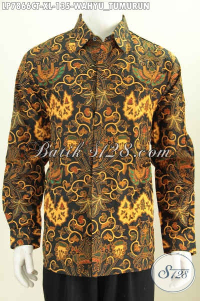 Kemeja Batik Solo Wahyu Tumurun, Pakaian Batik Modis Trend Masa Kini Untuk Pria Terlihat Istimewa Dan Gagah [LP7866P-XL]