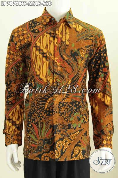 Batik Hem Solo Klasik, Kemeja Batik Kerja Lengan Panjang Full Furing Kwalitas Premium, Cocok Juga Untuk Rapat Proses Kombinasi Tulis, Size M – L
