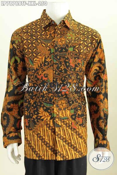Baju Batik 3L, Hem Batik Pria Gemuk Kwalitas Bagus Model Lengan Panjang Full Furing Motif Klasik Kombinasi Tulis Harga 250K [LP7876BTF-XXL]