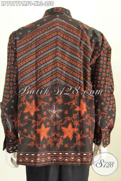 Baju Batik Bagus Lengan Panjang, Kemeja Batik Solo Istimewa Daleman Full Furing Bahan Adem Proses Kombinasi Tulis Pria Tampil Tampan Dan Menawan [LP7877PMF-XL]