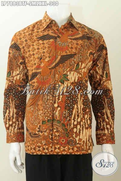 Hem Batik Kwalitas Premium Untuk Pria Kantoran, Baju Batik ELegan Full Furing Model Lengan Panjang Motif Kombinasi Tulis Harga 300 Ribuan [LP7883BTF-S , M , XXL]