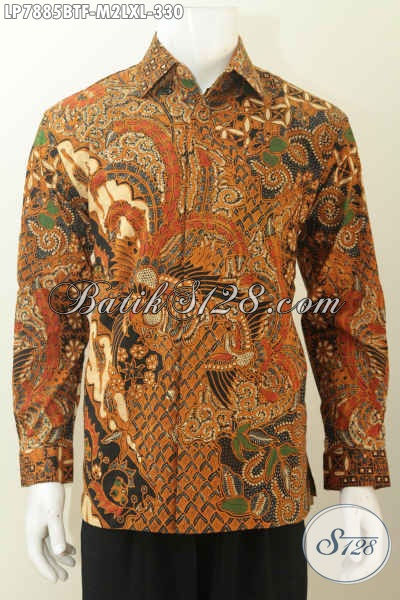 Toko Baju Batik Solo Online, Sedia Pakaian Kerja Batik Lengan Panjang Mewah Halus Full Furing Motif Terkini Tampil Makin Istimewa [LP7885BTF-M , XL]