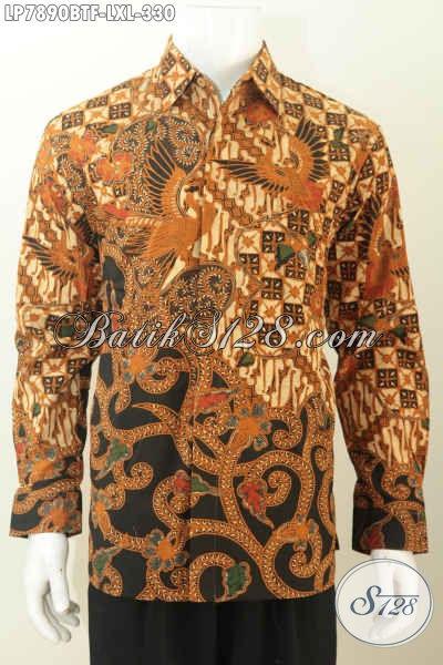 Baju Kemeja Cowok Size L, Pakaian Batik Pakai Furing Lengan Panjang Halus Motif Klasik Kombinasi Tulis Harga 330 Ribu