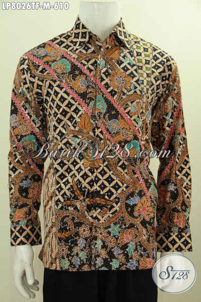 Baju Batik Solo Untuk Lelaki Muda Tampil Berwibawa, Hem Batik Mewah 600 Ribuan Lengan Panjang Pakai Furing Motif Tulis Tangan [LP8026TF-M]