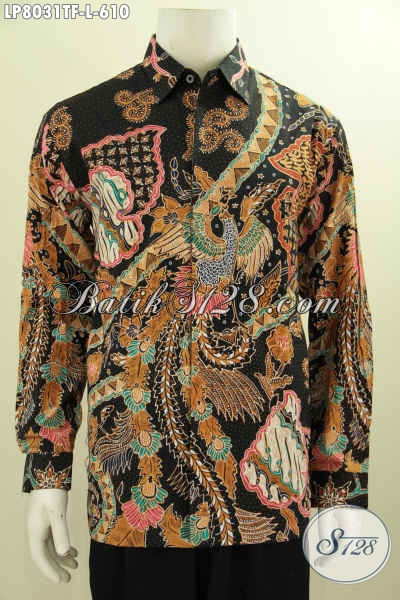 Contoh batik pria modern motif burung Cendrawasih