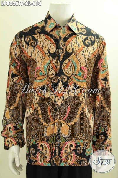 Batik Hem Lengan Panjang Mewah Pake Furing Motif Bagus Banget, Baju Batik Solo Premium Lengan Panjang Pria Terlihat Makin Tampan [LP8036TF-XL]