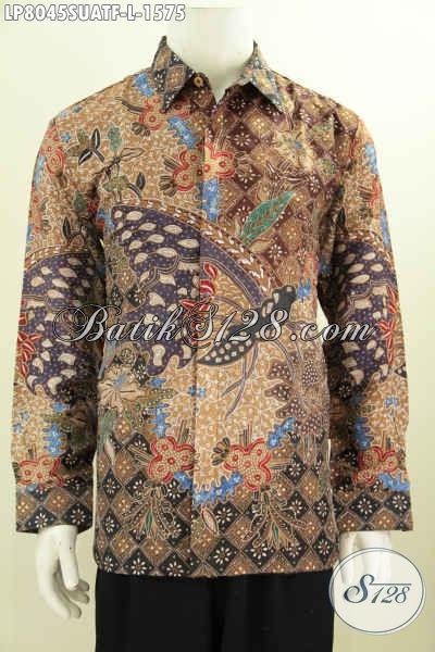 Jual Busana Batik Harga Di Atas 1 Jutaan, Kemeja Batik Pria Premium Bahan Sutra ATBM Motif Proses Tulis Lengan Panjang Pake Furing [LP8045SUATF-L]