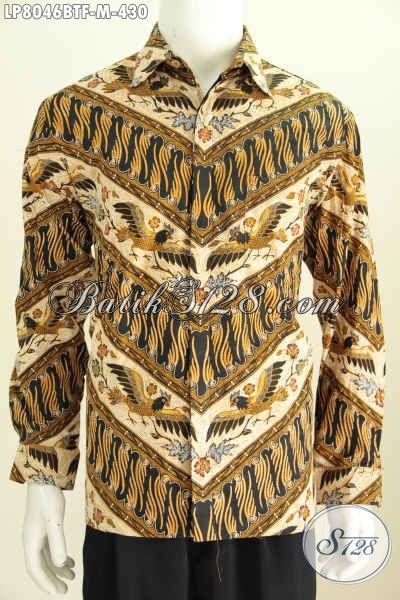 Batik Kemeja Pria Lengan Panjang Full Furing, Baju Batik Klasik Nan Elegan Bahan Adem Proses Kombinasi Tulis, Size M