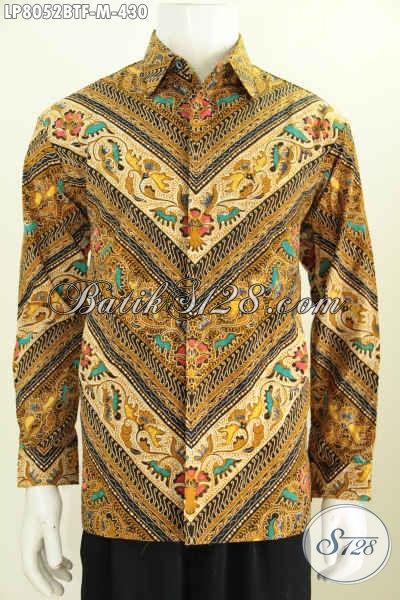 Baju Batik Formal Lengan Panjang Motif Klasik, Pakaian Batik Halus Full Furing Proses Kombinasi Tulis Untuk Tampil Lebih Mewah [LP8052BTF-M]