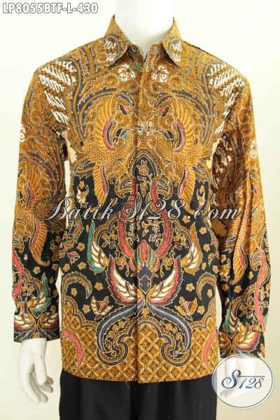 Hem Batik Lengan Panjang Motif Klasik Dari Solo, Baju Batik Full Furing Bahan Halus Kombinasi Tulis Harga 430K [LP8055BTF-L]