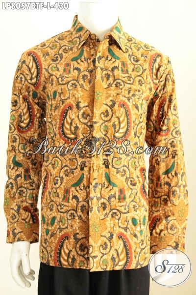 Jual Fashion Batik Cowok, Kemeja Lengan Panjang Halus Full Furing Bahan Adem Motif Mewah Kombinasi Tulis Size L Harga 430K