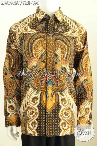 Hem Batik 3L Lengan Panjang Full Furing, Baju Batik Lelaki Gemuk Motif Klasik Proses Kombinasi Tulis Hanya 400 Ribuan [LP8065BTF-XXL]