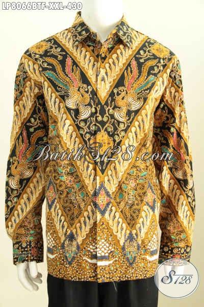 Baju Kemeja Batik Motif Klasik, Hem Batik Solo Istimewa Lengan Panjang Pake Furing Bahan Adem Proses Kombinasi Tulis Untuk Lelaki Gemu Tampil Gagah Dan Tampan [LP8066BTF-XXL]