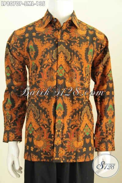 Hem Batik Solo Proses Printing Motif Klasik, Pakaian Batik Berkelas Model Lengan Panjang Hanya 135 Ribu [LP8070P-S , M , L]