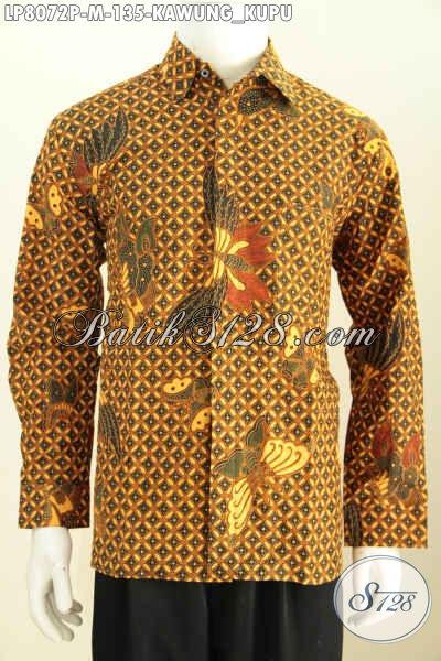 Batik Hem Mewah Klasik Motif Kawung Kupu, Pakaian Batik Printing Halus Lengan Panjang Buatan Solo Asli, Pas Untuk Pertemuan Resmi, Size M