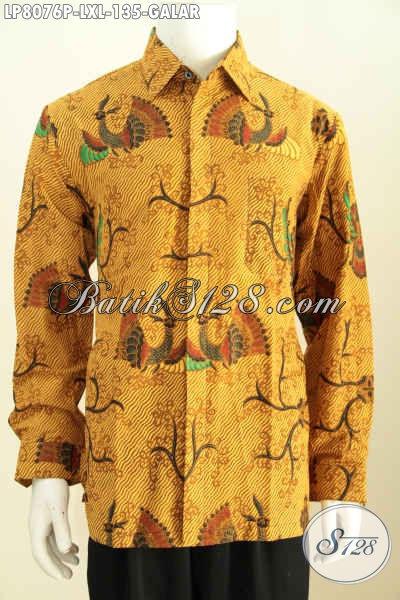 Jual Online Batik Kemeja Masa Kini, Busana Batik Solo Halus Proses Printing Motif Galar Bahan Adem Nyaman Di Pakai [LP8076P-L , XL]