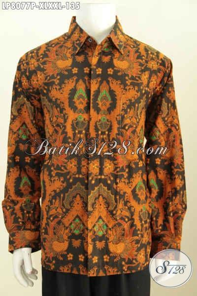 Aneka Baju Batik Printing Model Lengan Panjang Kwalitas Bagus Harga Murmer, Kemeja Batik Halus Buatan Solo Asli Harga 135 Ribu Saja [LP8077P-XL]