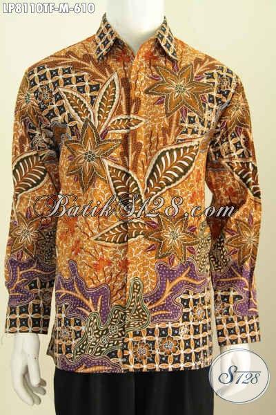 Kemeja Batik Premiu, Baju Batik Pria Motif Mewah Desain Elegan Bahan Halus Proses Tulis Model Lengan Panjang Full Furing, Pas Untuk Acara Resmi [LP8110TF-M]