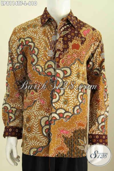 Sedia Baju Batik Keren Halus Kwalitas Istimewa, Hem Batik Mewah Premium Lengan Panjang Proses Tulis Daleman Pake Furing, Tampim Lebih Elegan [LP8114TF-L]