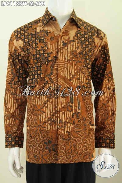 Jual Online Pakaian Batik Lengan Panjang Klasik, Baju Batik Solo Halus Proses Kombinasi Tulis Elegan Untuk Acara Formal [LP8118BTF-M]