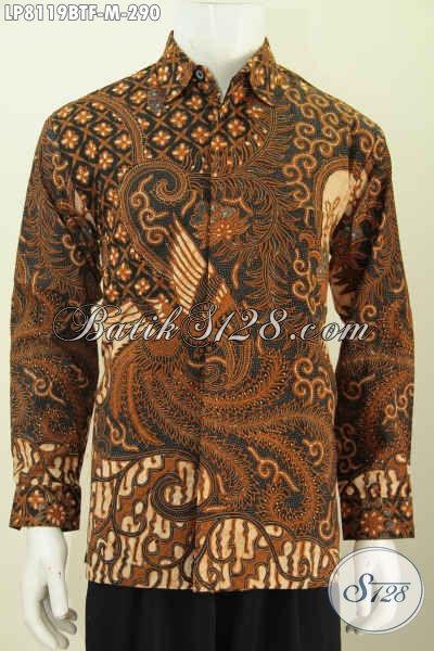 Sedia Kemeja Batik Klasik Solo, Pakaian Batik Jawa Tengah Halus Full Furing Bahan Adem Proses Kombinasi Tulis Tampil Lebih Berwibawa [LP8119BTF-M]