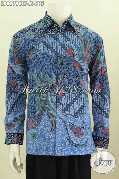 Produk Terkini Hem Batk Formal Lengan Panjang Warna Biru, Kemeja Batik Berkelas Full Furing Motif Kombinasi Tulis Cocok Buat Rapat [LP8279BTF-M]