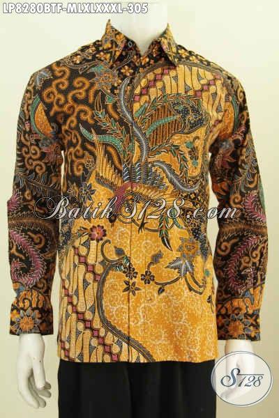 Baju Hem Lengan Panjang Elegan Berkelas, Pakaian Batik Solo Motif Klasik Full Furing Proses Kombinasi Tulis Cocok Juga Untuk Kondangan [LP8280BTF-L]