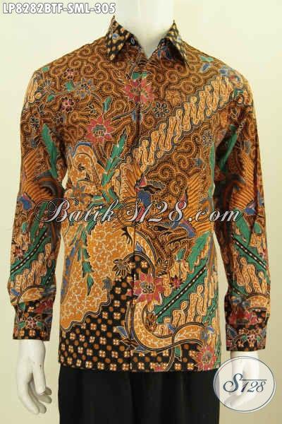 Jual Baju Batik Klasik Lengan Panjang, Hem Batik Berkelas Buatan Solo Full Furing Bahan Halus Kombinasi Tulis Untuk Tampil Berwibawa [LP8282BTF-M]