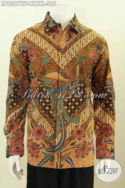 Hem Batik Klasik, Baju Batik Elegan Tampil Mewah Full Furing Lengan Panjang Bahan Adem Kombinasi Tulis Hanya 300 Ribuan [LP8287BTF-XXL]
