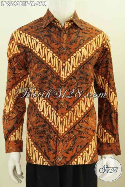 Batik Kemeja Lengan Panjang Halus Motif Klasik, Busana Batik Full Furing Mewah Buatan Solo Harga 290 Ribu Saja, Size M
