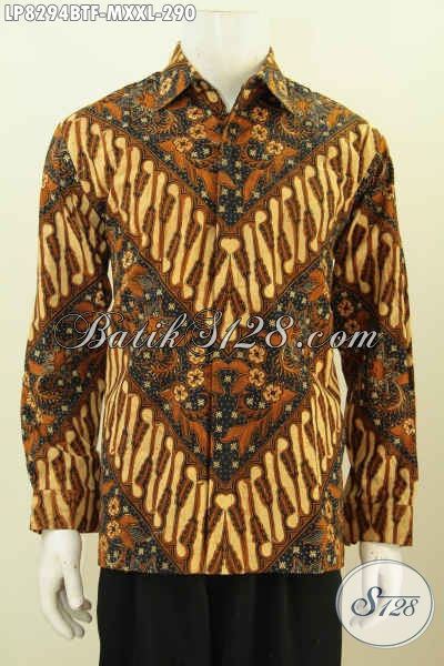 Batik Hem Mewah Halus Lengan Panjang, Baju Batik Solo Klasik Kombinasi Tulis Tampil Gagah Mempesona, Size M