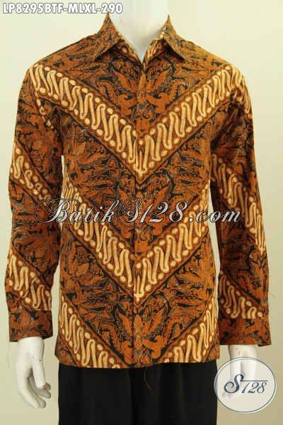 Baju Batik Klasik Kwalitas Premium, Hem Batik Solo Halus Lengan Panjang Full Furing Untuk Acara Formal Mantap Banget [LP8295BTF-M]