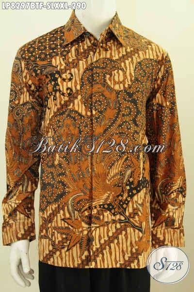 Baju Batik Formal Klasik Lengan Panjang Full Furing Bahan Halus Proses Kombinasi Tulis Untuk Kerja Dan Rapat, Size S – L – XXL